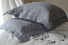 Dove Grey Rustic Linen Pillowcases, set of 2