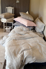 Grey and White Pinstriped linen duvet cover