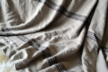 Vintage Grainsack Heavy Linen Coverlet⎮Bed cover, Black stripe