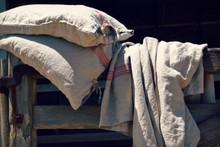 Red Stripe Grainsack Linen Pillowcase. All sizes