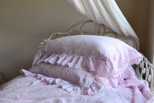 Dusty Pink linen pillow case with ruffle