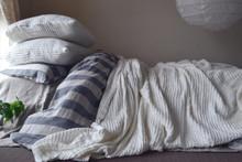 Waffle Linen Blanket, Ivory. Extra Heavy natural linen