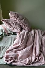 Rose Quartz stonewashed linen quilt cover. Heavy weight rustic linen