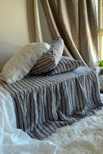 Ruffled Bed Valance⎮Bedskirt. Vintage Black Ticking linen