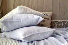 Silver Light Grey stonewashed linen pillow case