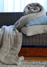 Natural Waffle Linen Blanket, Undyed. Extra Heavy natural linen