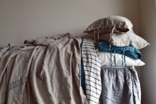 Vintage Grainsack Heavy Linen Coverlet⎮Bed cover, Blue stripe