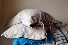 Blue Stripe Grainsack Linen Pillowcase. All sizes