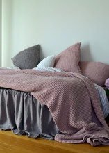 Rose Quartz (Blush) Waffle Linen Pillow Case. Super heavy weight linen