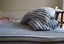 Antique French Navy Ticking Stonewashed linen fitted sheet
