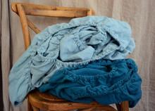 Duck Egg Blue heavy weight linen fitted sheet