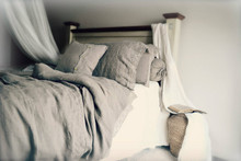 Provincial Living, natural softened linen quilt cover with linen lace, Natural