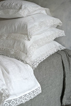 Antique white natural linen pillowcase with lace, Provincial Living bedding