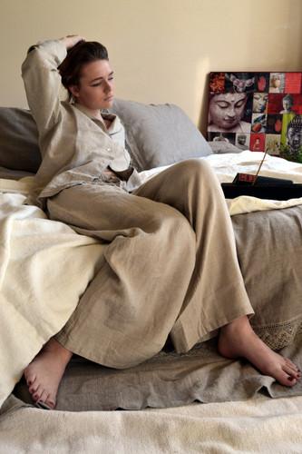 Natural stonewashed linen sleepwear. Pajama Set
