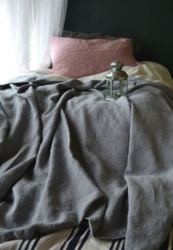Dove Grey Rough Linen Bed cover/Coverlet