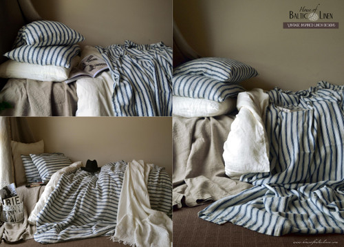 Vintage Classic. Antique French Ticking Stonewashed Linen Quilt cover