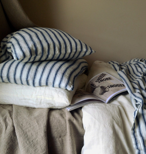 French Navy Ticking Stonewashed Linen Pillowcase