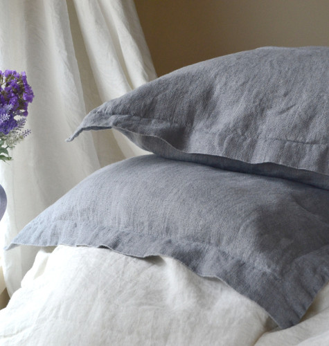 Dove Grey Rustic Linen Pillowcases, set of 2