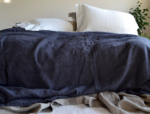Peppercorn Dark Grey Rustic Heavy Linen Bed cover/Coverlet