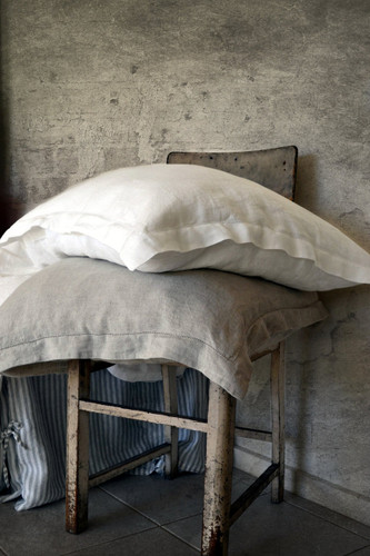 Pure Elegance natural stonewashed linen pillow case with hemstitch