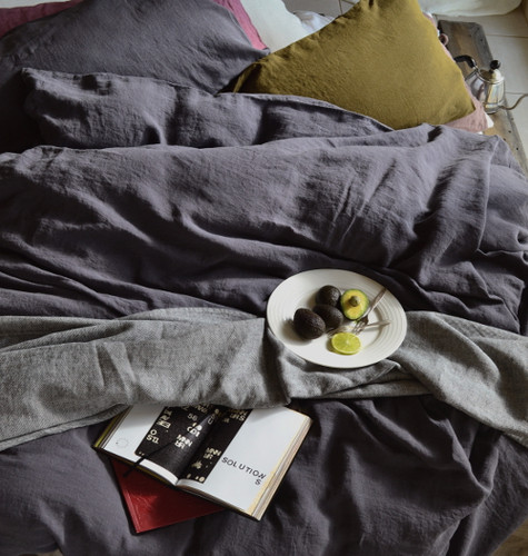Charcoal stonewashed linen duvet/quilt cover