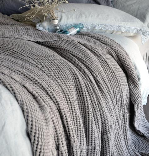 Waffle linen blanket, Fossil Grey