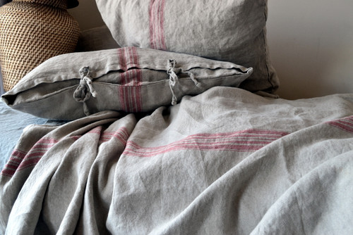 Vintage Grainsack Heavy Linen Coverlet⎮Bed cover, Red stripe