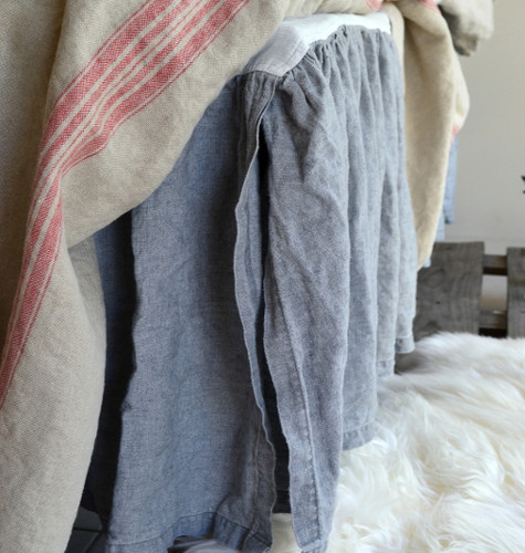 Heavy weight Fossil Grey Linen Ruffled Valance⎮Bedskirt⎮Dust Ruffle