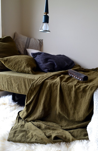Olive green stonewashed linen fitted sheet