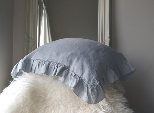 Light Grey Ruffled linen pillow case