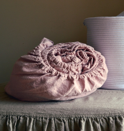 Rose Quartz Rustic heavy weight linen fitted sheet