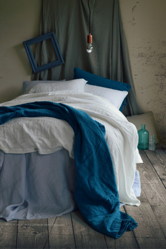 Bright Optical white stonewashed linen duvet/quilt cover