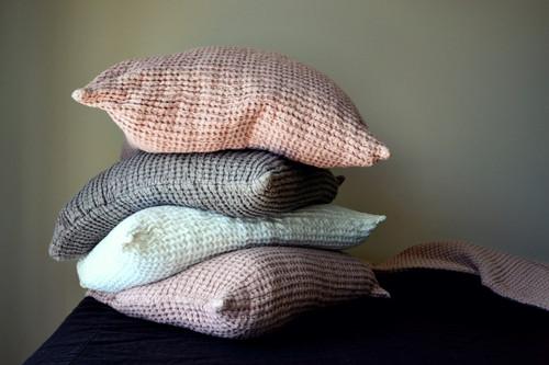 Rose Quartz (Blush) Waffle Linen Pillow Case. Super heavy weight linen