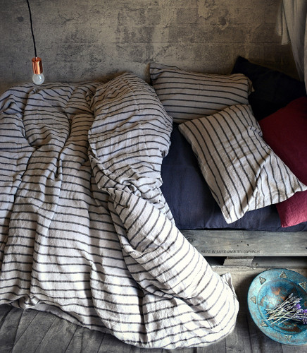 Vintage Black Ticking linen duvet/quilt cover