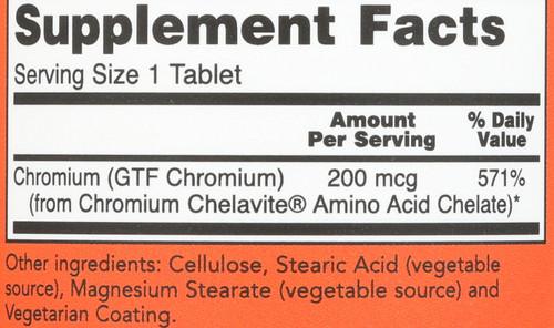 GTF Chromium 200 mcg Yeast Free - 250 Tablets