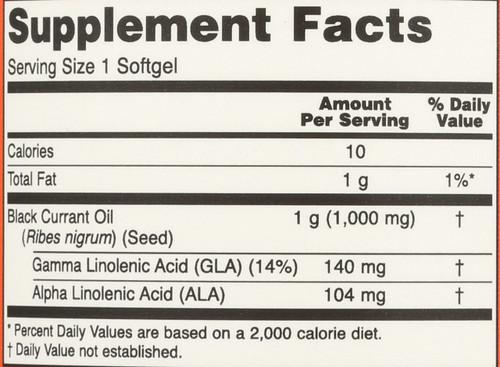 Black Currant Oil 1000 mg - 100 Softgels