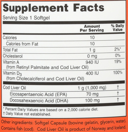 Cod Liver Oil Extra Strength 1,000 mg - 90 Softgels