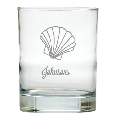 PERSONALIZED SCALLOP OLD FASHIONED - SET OF 6 GLASS