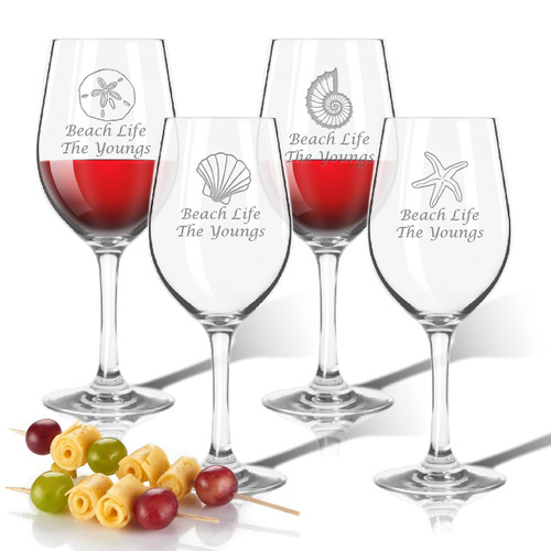 Tritan Wine Stems 12 oz (Set of 4): Shells Collection  with Name