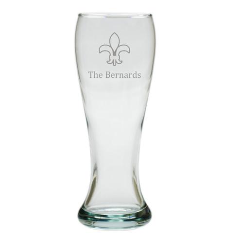 PERSONALIZED PILSNER GLASS: SET OF 4- FLEUR DE LIS