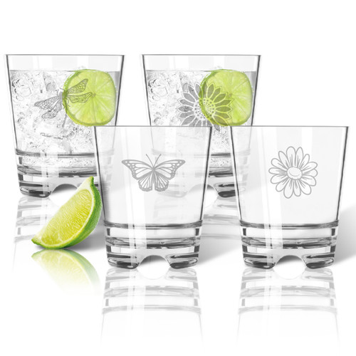 Tritan Double Old Fashioned Glasses 12oz (Set of 4): Garden