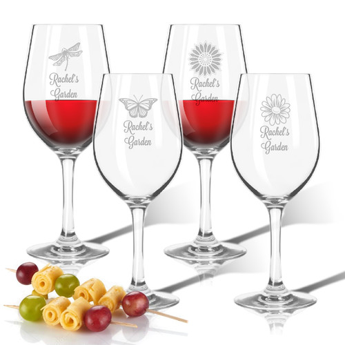 Tritan Wine Stems 12 oz (Set of 4): Garden w Names