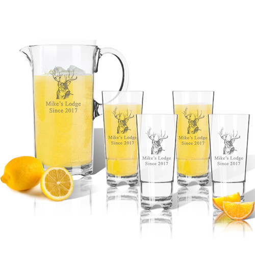 Entertaining Set: Unbreakable pitcher and four highball glasses : Buck Lodge
