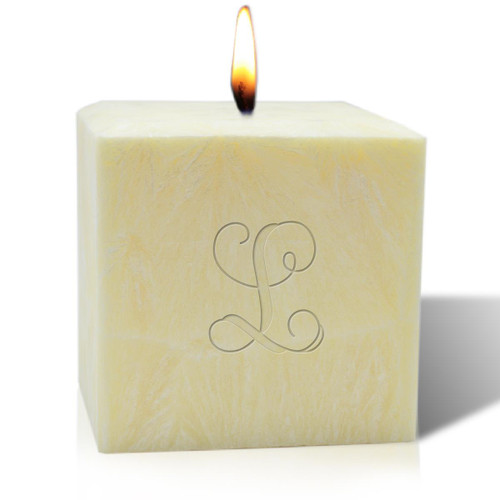 """4"""" Unscented Palm Wax Candle - Initial"""