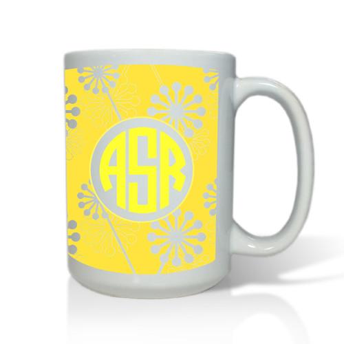 Personalized White Mug  15 oz.Asian Elements - VerbenaCircle Monogram