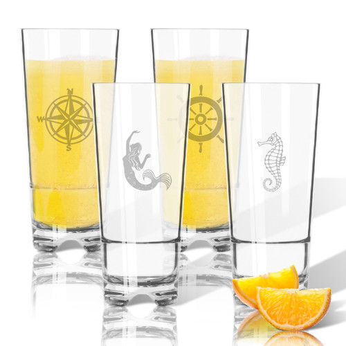Tritan High Ball Glasses 16 oz (Set of 4): Nautical