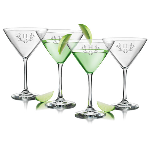 PERSONALIZED ANTLER MOTIF COCKTAIL - SET OF 4 (GLASS)