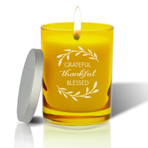 Citrine Soy Glass Candle - Grateful Thankful Blessed