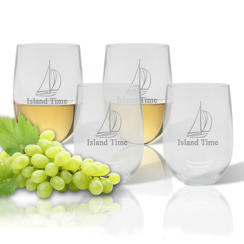 Stemless Wine Tumbler  (Set of 4) : Sailboat