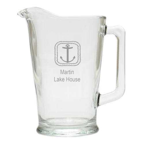 PERSONALIZED ROPE ANCHOR  PITCHER  (GLASS)